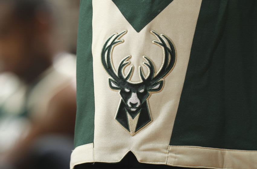 CLEVELAND, OH - OCTOBER 13: A shot of the Milwaukee Bucks logo during the game against the Cleveland Cavaliers on October 13, 2015 at Quicken Loans Arena in Cleveland, Ohio. NOTE TO USER: User expressly acknowledges and agrees that, by downloading and or using this Photograph, user is consenting to the terms and condition of the Getty Images License Agreement. (Photo by Rocky Widner/Getty Images)