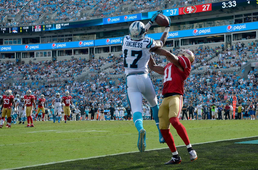 CHARLOTTE, NC - SEPTEMBER 18: Devin Funchess #17 of the Carolina Panthers catches a touchdown pass against Antoine Bethea #41 of the San Francisco 49ers in the 4th quarter during the game at Bank of America Stadium on September 18, 2016 in Charlotte, North Carolina. (Photo by Grant Halverson/Getty Images)