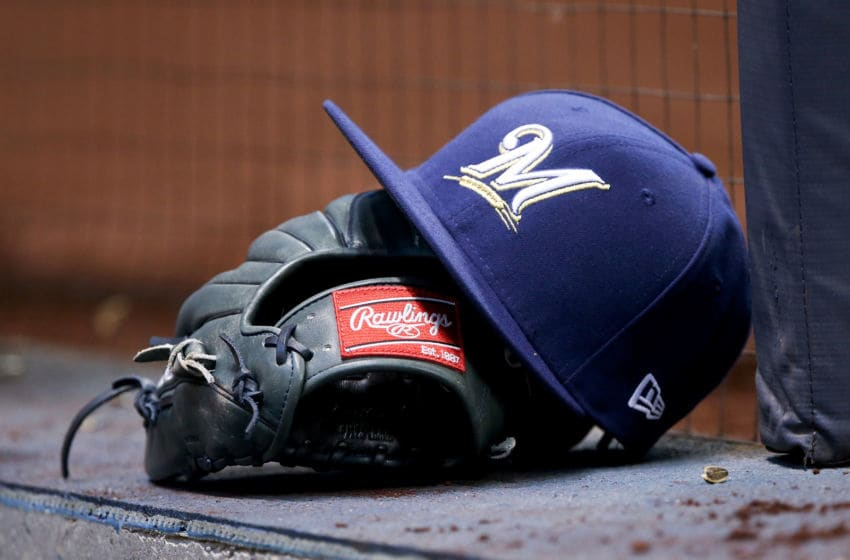 MILWAUKEE, WI - APRIL 04: A detail shot of a Milwaukee Brewers hat before the game against the Colorado Rockies at Miller Park on April 4, 2017 in Milwaukee, Wisconsin. (Photo by Dylan Buell/Getty Images) *** Local Caption ***
