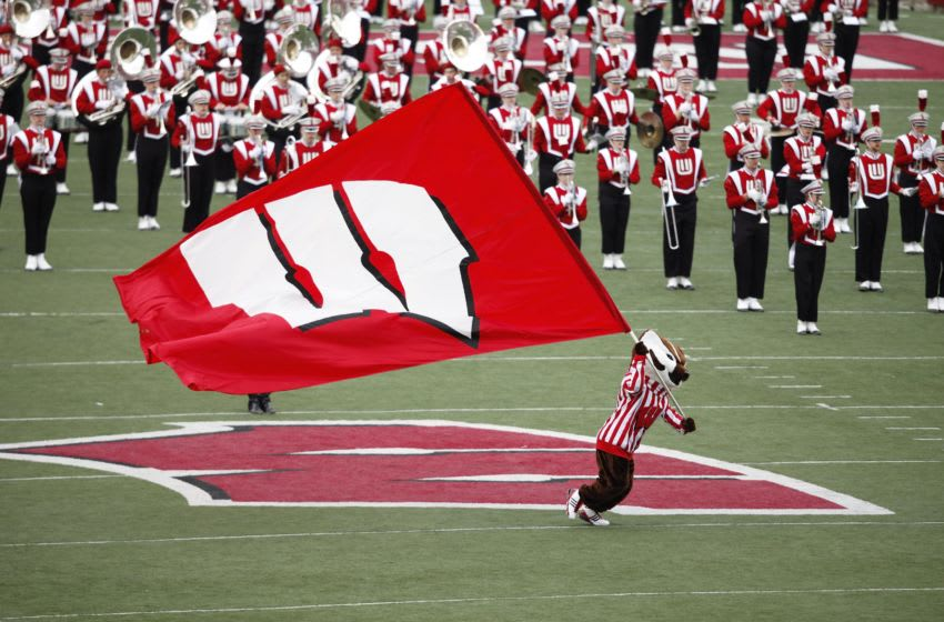 MADISON, WI - OCTOBER 31: Bucky Badger leads the Wisconsin Badgers marching band to the field before the game against the Purdue Boilermakers at Camp Randall Stadium on October 31, 2009 in Madison, Wisconsin. Wisconsin won 37-0. (Photo by Joe Robbins/Getty Images)