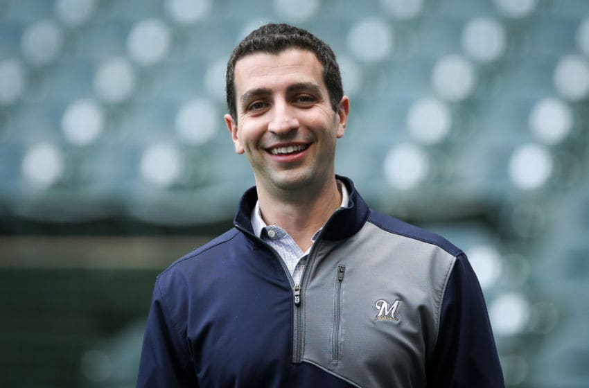 MILWAUKEE, WI - MAY 04: General manager David Stearns of the Milwaukee Brewers lines out before the game against the Pittsburgh Pirates at Miller Park on May 4, 2018 in Milwaukee, Wisconsin. (Photo by Dylan Buell/Getty Images)