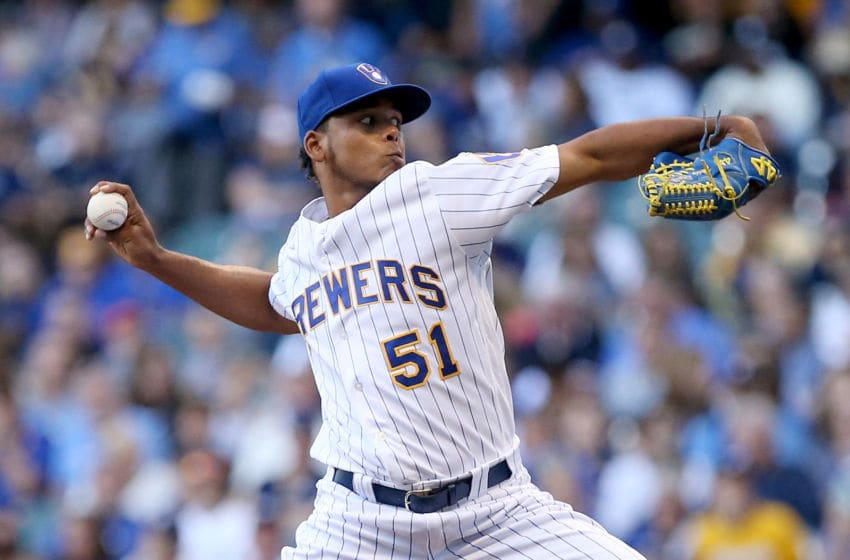 MILWAUKEE, WI - JULY 06: Freddy Peralta #51 of the Milwaukee Brewers pitches in the first inning against the Atlanta Braves at Miller Park on July 6, 2018 in Milwaukee, Wisconsin. (Photo by Dylan Buell/Getty Images)