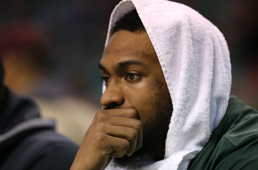 BOSTON, MA - APRIL 15: Jabari Parker #12 of the Milwaukee Bucks looks on from the bench during the third quarter of Game One of Round One of the 2018 NBA Playoffs against the Boston Celtics during at TD Garden on April 15, 2018 in Boston, Massachusetts. (Photo by Maddie Meyer/Getty Images)