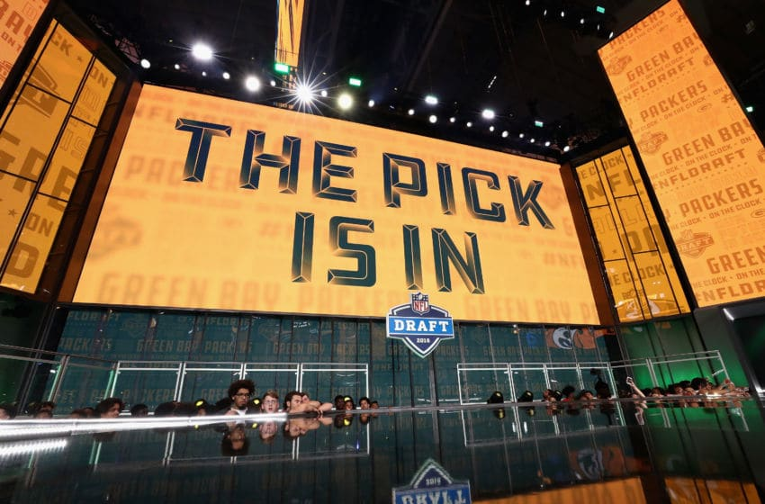 ARLINGTON, TX - APRIL 26: A video board displays the text 'THE PICK IS IN' for the Green Bay Packers during the first round of the 2018 NFL Draft at AT