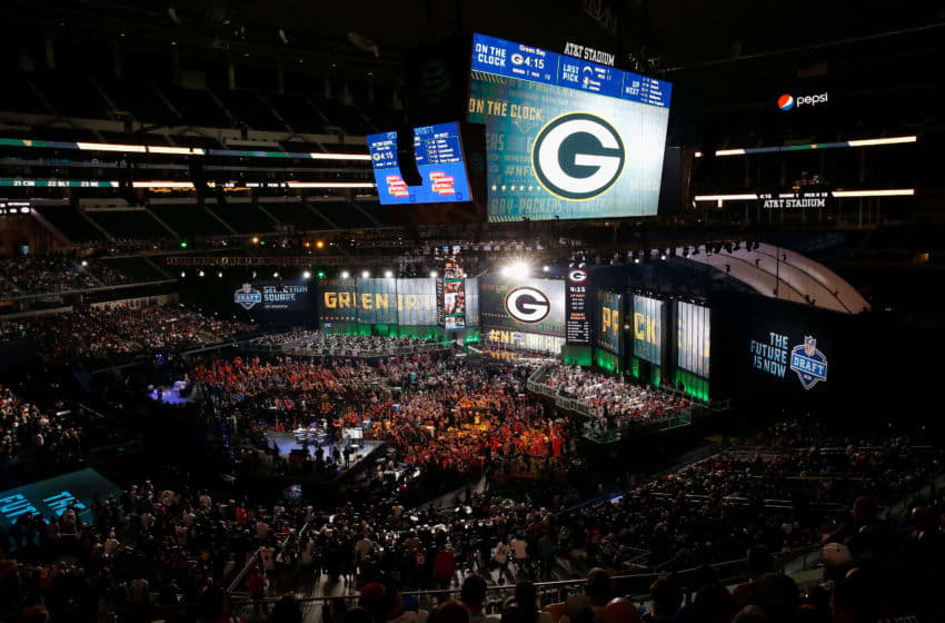 ARLINGTON, TX - APRIL 26: The Green Bay Packers logo is seen on a video board during the first round of the 2018 NFL Draft at AT