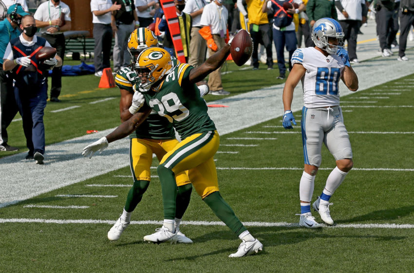 GREEN BAY, WISCONSIN - SEPTEMBER 20: Chandon Sullivan #39 of the Green Bay Packers celebrates after scoring a touchdown in the third quarter against the Detroit Lions at Lambeau Field on September 20, 2020 in Green Bay, Wisconsin. (Photo by Dylan Buell/Getty Images)