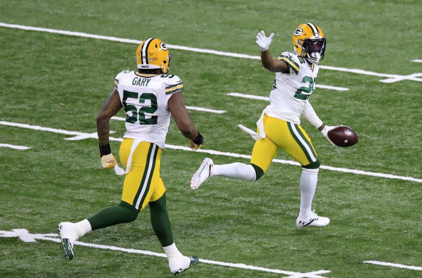 INDIANAPOLIS, INDIANA - NOVEMBER 22: Darnell Savage #26 of the Green Bay Packers celebrates a fumble recovery during the first quarter against the Indianapolis Colts in the game at Lucas Oil Stadium on November 22, 2020 in Indianapolis, Indiana. (Photo by Andy Lyons/Getty Images)