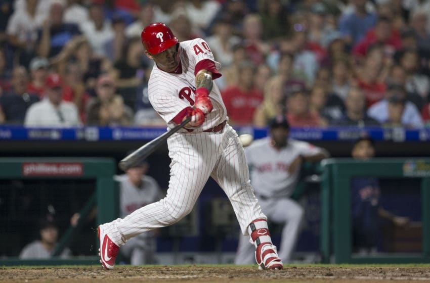 PHILADELPHIA, PA - AUGUST 15: Wilson Ramos #40 of the Philadelphia Phillies hits an RBI double in the bottom of the fourth inning against the Boston Red Sox at Citizens Bank Park on August 15, 2018 in Philadelphia, Pennsylvania. (Photo by Mitchell Leff/Getty Images)