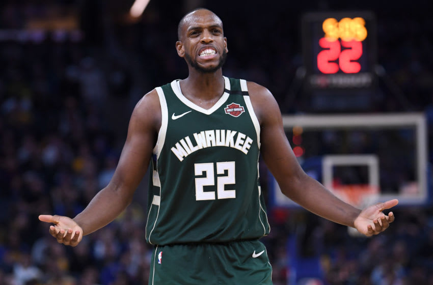 SAN FRANCISCO, CALIFORNIA - JANUARY 08: Khris Middleton #22 of the Milwaukee Bucks reacts after being called for a foul against the Golden State Warriors during the second half of an NBA basketball game at Chase Center on January 08, 2020 in San Francisco, California. NOTE TO USER: User expressly acknowledges and agrees that, by downloading and or using this photograph, User is consenting to the terms and conditions of the Getty Images License Agreement. (Photo by Thearon W. Henderson/Getty Images)