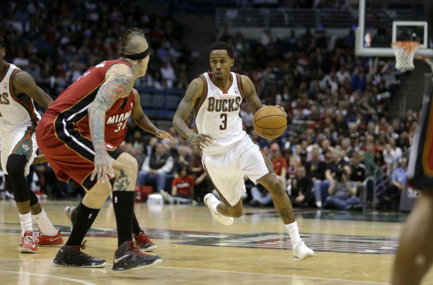 MILWAUKEE, WI - APRIL 25: Brandon Jennings #3 of the Milwaukee Bucks drives against the Miami Heat during Game Three of the Western Conference Quarterfinals of the 2013 NBA Playoffs at Bradley Center on April 25, 2013 in Milwaukee, Wisconsin. NOTE TO USER: User expressly acknowledges and agrees that, by downloading and or using this photograph, User is consenting to the terms and conditions of the Getty Images License Agreement. (Photo by Mike McGinnis/Getty Images)