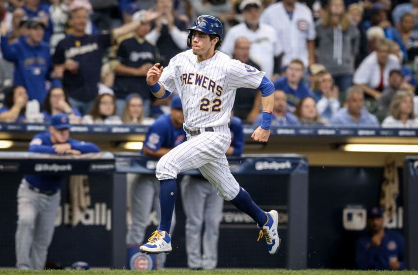MILWAUKEE, WISCONSIN - SEPTEMBER 08: Christian Yelich #22 of the Milwaukee Brewers runs to home plate in the fourth inning against the Chicago Cubs at Miller Park on September 08, 2019 in Milwaukee, Wisconsin. (Photo by Dylan Buell/Getty Images)