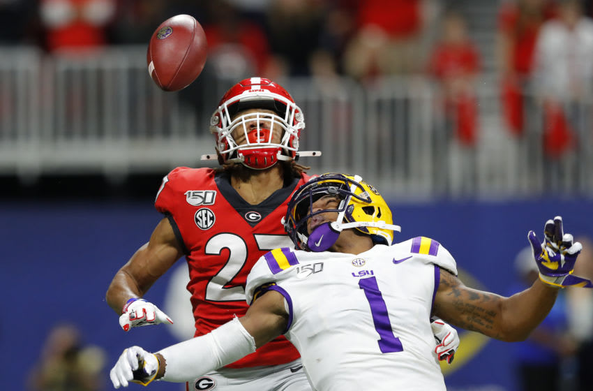 ATLANTA, GEORGIA - DECEMBER 07: Ja'Marr Chase #1 of the LSU Tigers is unable to catch a pass as he is defended by Eric Stokes #27 of the Georgia Bulldogs in the first half during the SEC Championship game at Mercedes-Benz Stadium on December 07, 2019 in Atlanta, Georgia. (Photo by Kevin C. Cox/Getty Images)