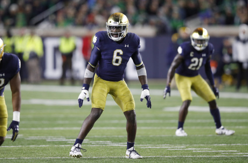 SOUTH BEND, IN - OCTOBER 12: Jeremiah Owusu-Koramoah #6 of the Notre Dame Fighting Irish in action on defense during a game against the USC Trojans at Notre Dame Stadium on October 12, 2019 in South Bend, Indiana. Notre Dame defeated USC 30-27. (Photo by Joe Robbins/Getty Images)