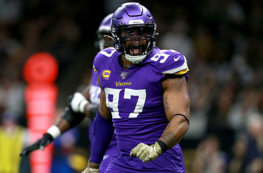 NEW ORLEANS, LOUISIANA - JANUARY 05: Everson Griffen #97 of the Minnesota Vikings reacts during the NFC Wild Card Playoff game against the New Orleans Saints at Mercedes Benz Superdome on January 05, 2020 in New Orleans, Louisiana. (Photo by Sean Gardner/Getty Images)