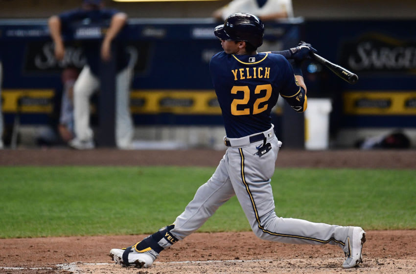MILWAUKEE, WISCONSIN - JULY 19: Christian Yelich #22 of the Milwaukee Brewers at bat during Summer Workouts at Miller Park on July 19, 2020 in Milwaukee, Wisconsin. (Photo by Stacy Revere/Getty Images)
