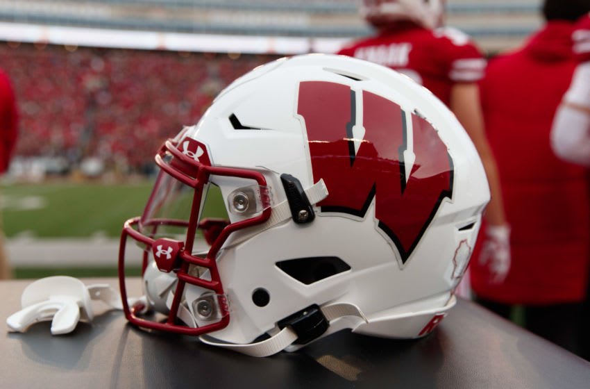 Nov 9, 2019; Madison, WI, USA; A Wisconsin Badgers helmet during the game against the Iowa Hawkeyes at Camp Randall Stadium. Mandatory Credit: Jeff Hanisch-USA TODAY Sports