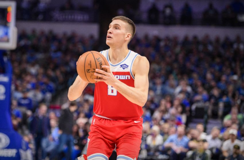 Dec 8, 2019; Dallas, TX, USA; Sacramento Kings guard Bogdan Bogdanovic (8) in action during the game between the Kings and the Mavericks at the American Airlines Center. Mandatory Credit: Jerome Miron-USA TODAY Sports