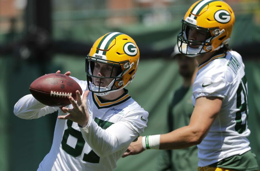 Green Bay Packers tight end Jace Sternberger (87) and tight end Robert Tonyan (85) participate in organized team activities Wednesday, June 2, 2021, in Green Bay, Wis. Apc Packersota 0602211084djp