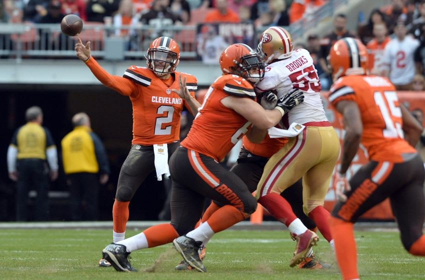 Dec 13, 2015; Cleveland, OH, USA; Cleveland Browns quarterback Johnny Manziel (2) throws a pass during the third quarter against the San Francisco 49ers at FirstEnergy Stadium. Mandatory Credit: Ken Blaze-USA TODAY Sports