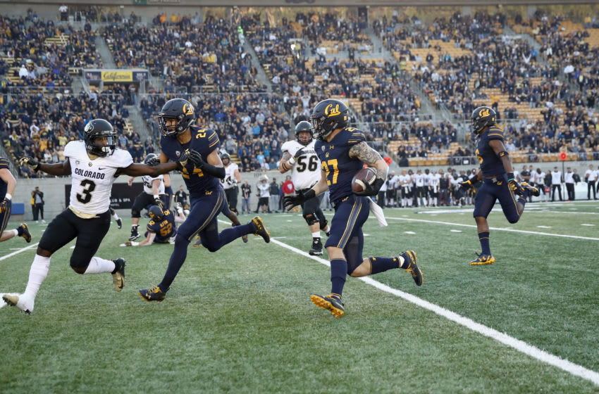 BERKELEY, CA - NOVEMBER 24: Ashtyn Davis #27 of the California Golden Bears returns an interception for a touchdown against the Colorado Buffaloes at California Memorial Stadium on November 24, 2018 in Berkeley, California. (Photo by Ezra Shaw/Getty Images)