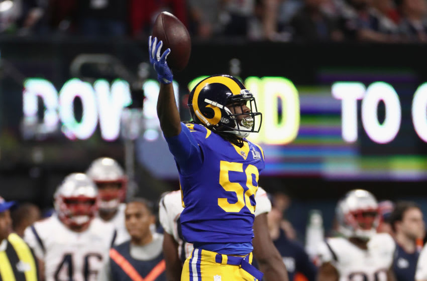 ATLANTA, GA - FEBRUARY 03: Cory Littleton #58 of the Los Angeles Rams celebrates his interception in the first quarter of the Super Bowl LIII against the New England Patriots at Mercedes-Benz Stadium on February 3, 2019 in Atlanta, Georgia. (Photo by Jamie Squire/Getty Images)