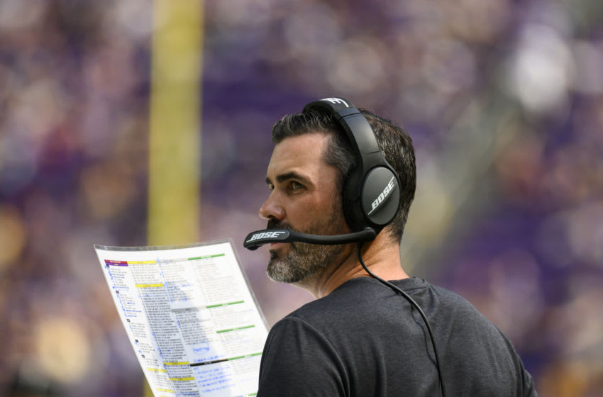 MINNEAPOLIS, MN - AUGUST 24: Minnesota Vikings offensive coordinator Kevin Stefanski on the sidelines in the fourth quarter of the preseason game against the Arizona Cardinals at U.S. Bank Stadium on August 24, 2019 in Minneapolis, Minnesota. (Photo by Stephen Maturen/Getty Images)