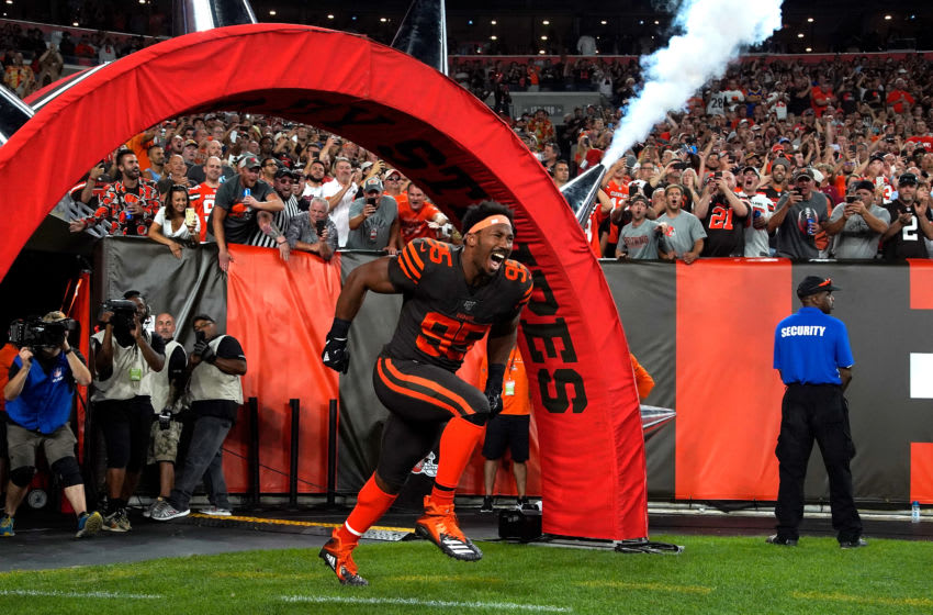 Myles Garrett #95 of the Cleveland Browns - (Photo by Kirk Irwin/Getty Images)