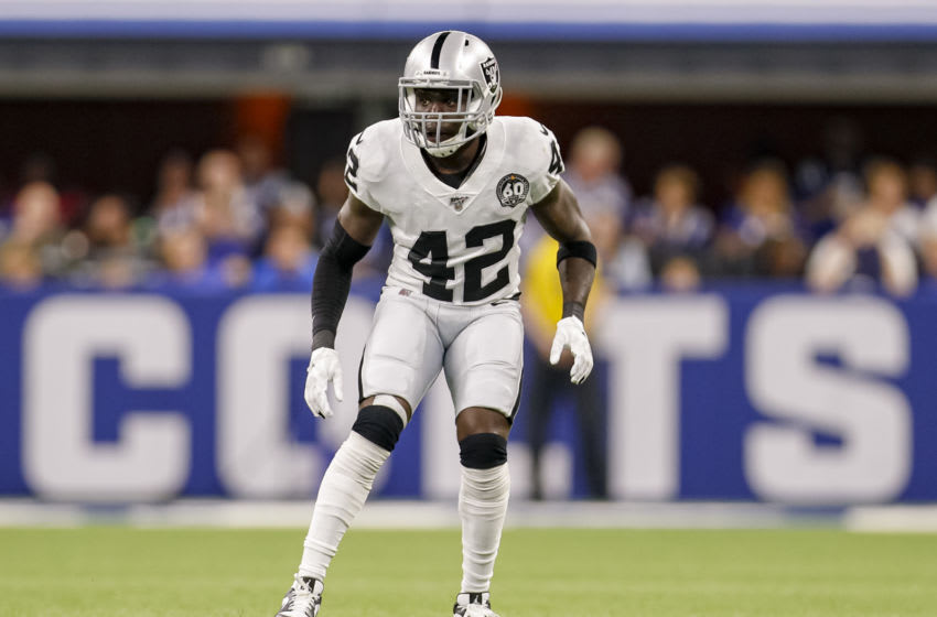INDIANAPOLIS, IN - SEPTEMBER 29: Karl Joseph #42 of the Oakland Raiders is seen during the game against the Indianapolis Colts at Lucas Oil Stadium on September 29, 2019 in Indianapolis, Indiana. (Photo by Michael Hickey/Getty Images)