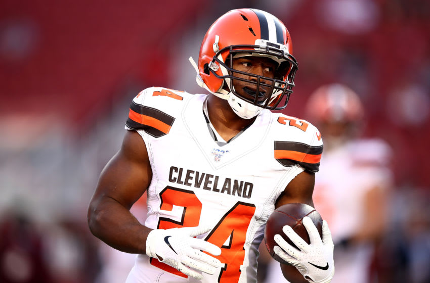 SANTA CLARA, CALIFORNIA - OCTOBER 07: Running back Nick Chubb #24 of the Cleveland Browns warms before the game against the San Francisco 49ers at Levi's Stadium on October 07, 2019 in Santa Clara, California. (Photo by Ezra Shaw/Getty Images)