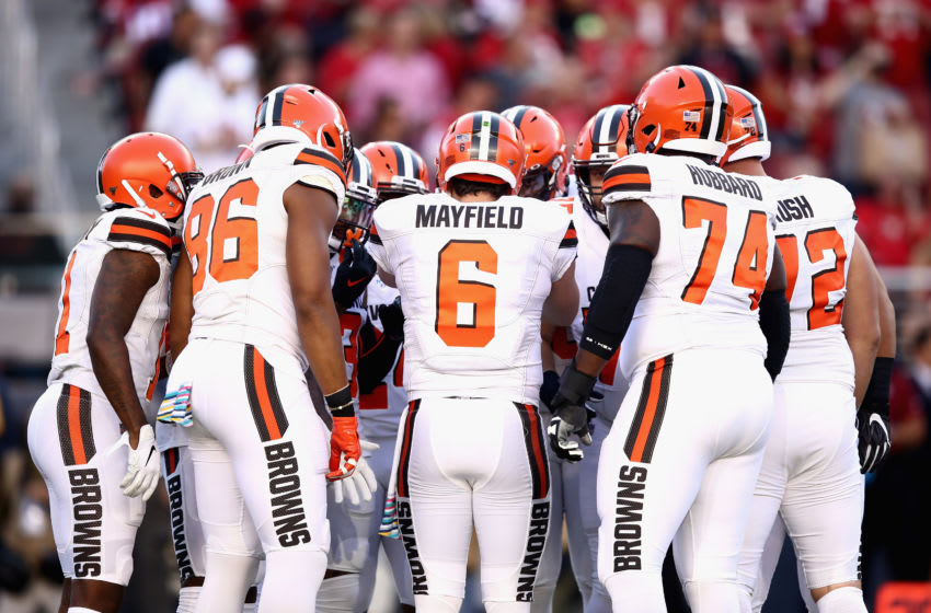 SANTA CLARA, CALIFORNIA - OCTOBER 07: Quarter Baker Mayfield #6 of the Cleveland Browns and teammates huddle during the game against the San Francisco 49ers at Levi's Stadium on October 07, 2019 in Santa Clara, California. (Photo by Ezra Shaw/Getty Images)