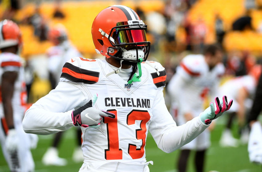 PITTSBURGH, PA - DECEMBER 01: Odell Beckham #13 of the Cleveland Browns warms up before the game against the Pittsburgh Steelers at Heinz Field on December 1, 2019 in Pittsburgh, Pennsylvania. (Photo by Justin Berl/Getty Images)