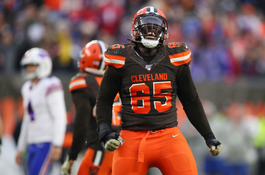 CLEVELAND, OHIO - NOVEMBER 10: Larry Ogunjobi #65 of the Cleveland Browns reacts after a missed field goal by Stephen Hauschka #4 of the Buffalo Bills that would of tied the game with seconds left at FirstEnergy Stadium on November 10, 2019 in Cleveland, Ohio. (Photo by Gregory Shamus/Getty Images)