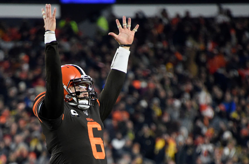 CLEVELAND, OHIO - NOVEMBER 14: Quarterback Baker Mayfield #6 of the Cleveland Browns celebrates a pass to Jarvis Landry #80 of the Cleveland Browns for a touchdown in the second quarter of the game against the Pittsburgh Steelers at FirstEnergy Stadium on November 14, 2019 in Cleveland, Ohio. (Photo by Jason Miller/Getty Images)