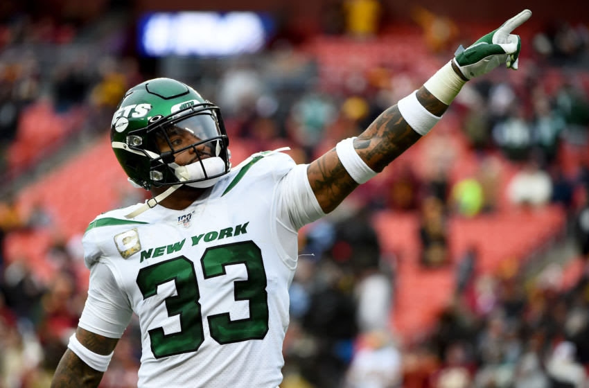 LANDOVER, MD - NOVEMBER 17: Jamal Adams #33 of the New York Jets reacts after a play against the Washington Redskins during the second half at FedExField on November 17, 2019 in Landover, Maryland. (Photo by Will Newton/Getty Images)