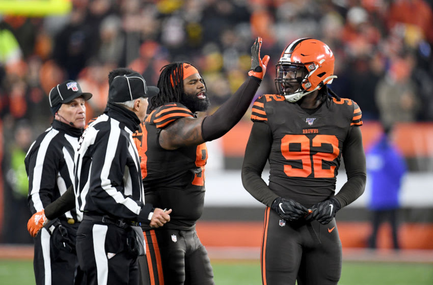 CLEVELAND, OHIO - NOVEMBER 14: Defensive tackle Sheldon Richardson #98 talks to defensive end Chad Thomas #92 of the Cleveland Browns after an argument with the Pittsburgh Steelers during the second half at FirstEnergy Stadium on November 14, 2019 in Cleveland, Ohio. The Browns defeated the Steelers 21-7. (Photo by Jason Miller/Getty Images)