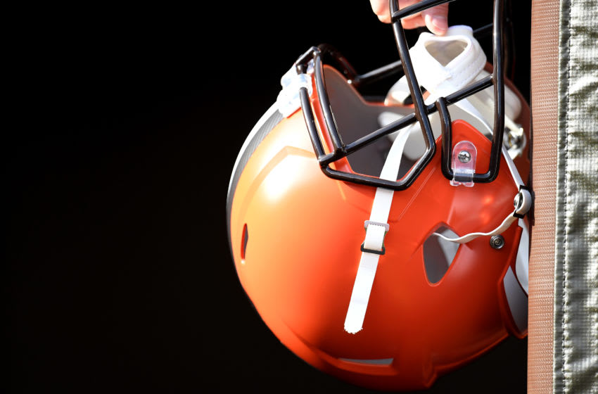 CLEVELAND, OHIO - DECEMBER 08: A Cleveland Browns helmet waits for an autograph prior to the game against the Cincinnati Bengals 3at FirstEnergy Stadium on December 08, 2019 in Cleveland, Ohio. (Photo by Jason Miller/Getty Images)