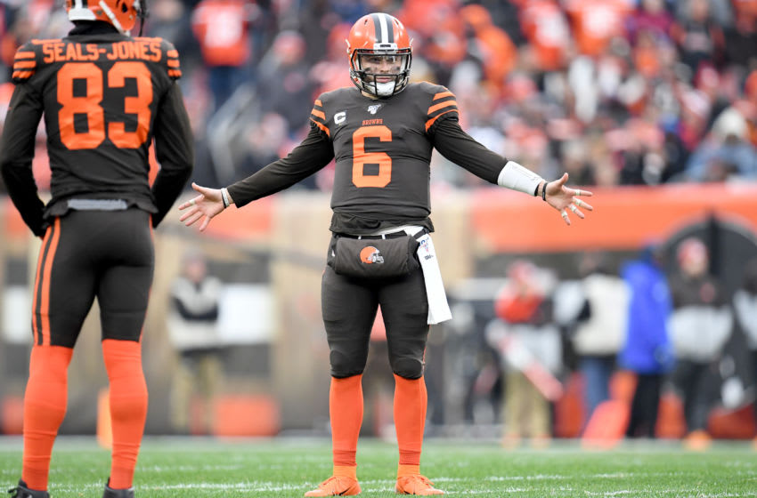 CLEVELAND, OHIO - DECEMBER 08: Quarterback Baker Mayfield #6 of the Cleveland Browns reacts to an officials call during the second half against the Cincinnati Bengals at FirstEnergy Stadium on December 08, 2019 in Cleveland, Ohio. The Browns defeated the Bengals 27-19. (Photo by Jason Miller/Getty Images)