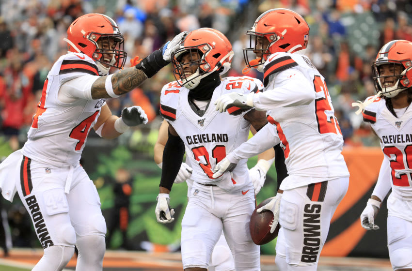 CINCINNATI, OHIO - DECEMBER 29: Denzel Ward #21 of the Cleveland Browns celebrates with teammates after intercepting a pass during the game against the Cincinnati Bengals at Paul Brown Stadium on December 29, 2019 in Cincinnati, Ohio. (Photo by Andy Lyons/Getty Images)
