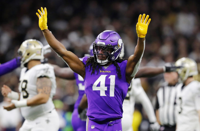 NEW ORLEANS, LOUISIANA - JANUARY 05: Anthony Harris #41 of the Minnesota Vikings reacts during the first half against the New Orleans Saints in the NFC Wild Card Playoff game at Mercedes Benz Superdome on January 05, 2020 in New Orleans, Louisiana. (Photo by Kevin C. Cox/Getty Images)