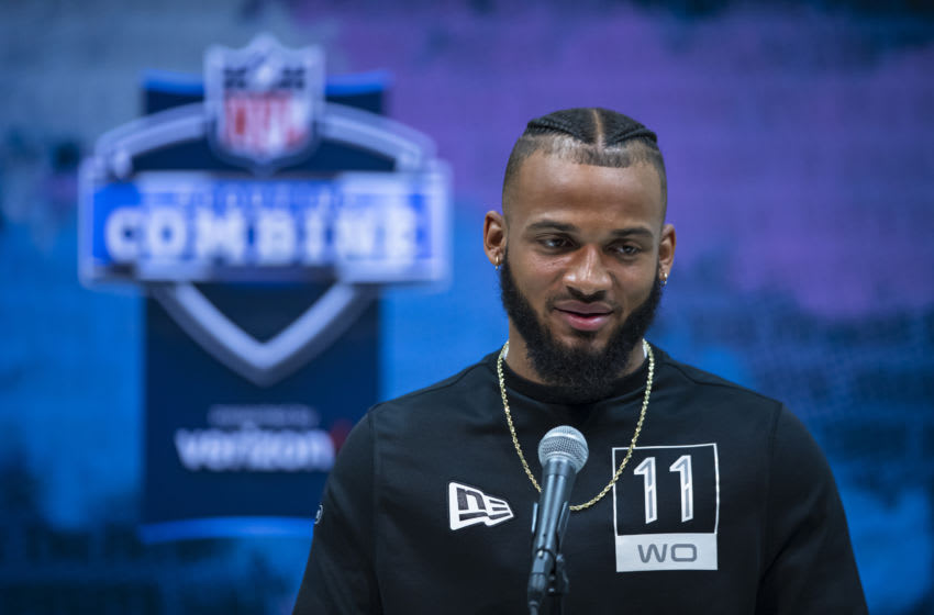 INDIANAPOLIS, IN - FEBRUARY 25: Gabriel Davis #WO11 of the Central Florida Knights speaks to the media at the Indiana Convention Center on February 25, 2020 in Indianapolis, Indiana. (Photo by Michael Hickey/Getty Images) *** Local Capture *** Gabriel Davis