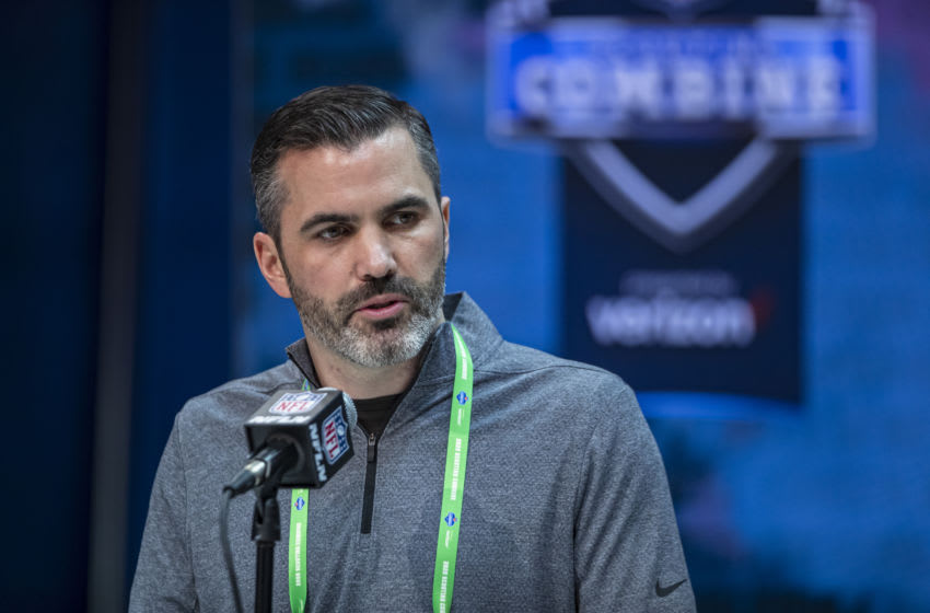 INDIANAPOLIS, IN - FEBRUARY 25: Head coach Kevin Stefanski of the Cleveland Browns speaks to the media at the Indiana Convention Center on February 25, 2020 in Indianapolis, Indiana. (Photo by Michael Hickey/Getty Images) *** Local Capture *** Kevin Stefanski