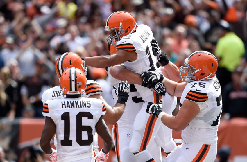 CLEVELAND, OH - SEPTEMBER 14: Miles Austin #19 of the Cleveland Browns celebrates his touchdown with Andrew Hawkins #16 and Joel Bitonio #75 of the Cleveland Browns at FirstEnergy Stadium on September 14, 2014 in Cleveland, Ohio. (Photo by Jason Miller/Getty Images)