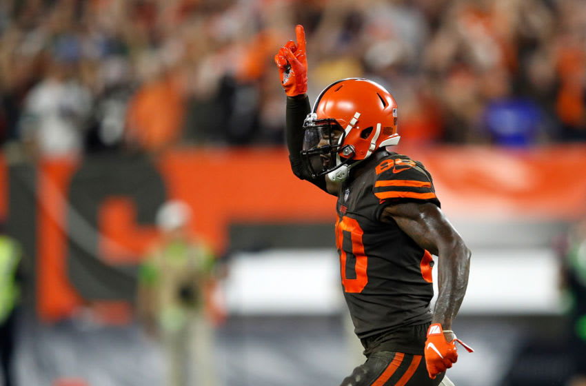 CLEVELAND, OH - SEPTEMBER 20: Jarvis Landry #80 of the Cleveland Browns reacts after throwing for a two-point conversion during the third quarter against the New York Jets at FirstEnergy Stadium on September 20, 2018 in Cleveland, Ohio. (Photo by Joe Robbins/Getty Images)
