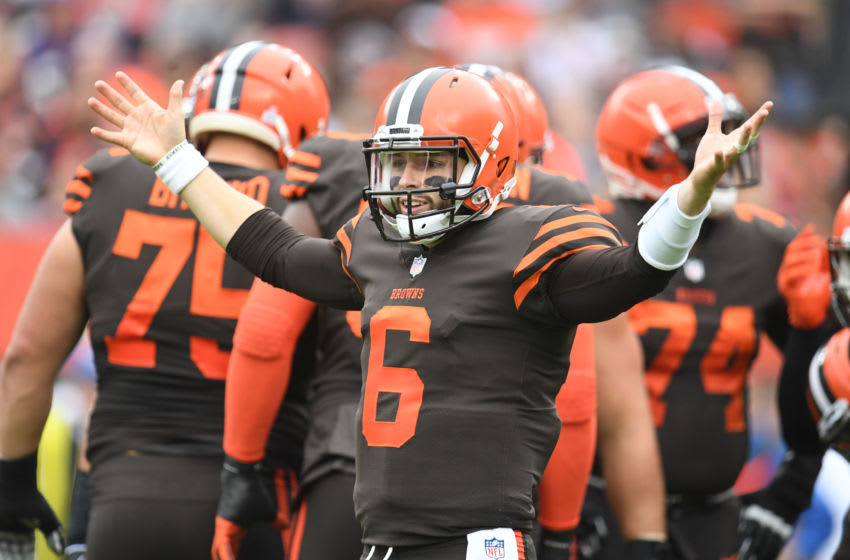 CLEVELAND, OH - OCTOBER 07: Baker Mayfield #6 of the Cleveland Browns reacts to a play in the first quarter against the Baltimore Ravens at FirstEnergy Stadium on October 7, 2018 in Cleveland, Ohio. (Photo by Jason Miller/Getty Images)