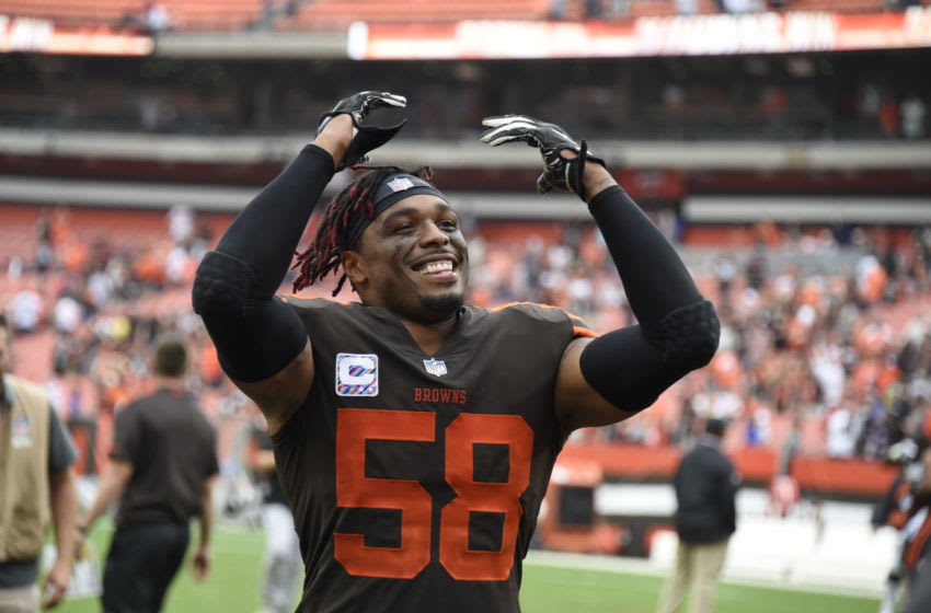 CLEVELAND, OH - OCTOBER 07: Christian Kirksey #58 of the Cleveland Browns celebrates defeating the Baltimore Ravens at FirstEnergy Stadium on October 7, 2018 in Cleveland, Ohio. The Browns won 12 to 9. (Photo by Jason Miller/Getty Images)