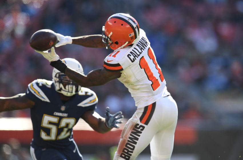 CLEVELAND, OH - OCTOBER 14: Pass is incomplete to Antonio Callaway #11 of the Cleveland Browns in the second half against the Los Angeles Chargers at FirstEnergy Stadium on October 14, 2018 in Cleveland, Ohio. (Photo by Jason Miller/Getty Images)