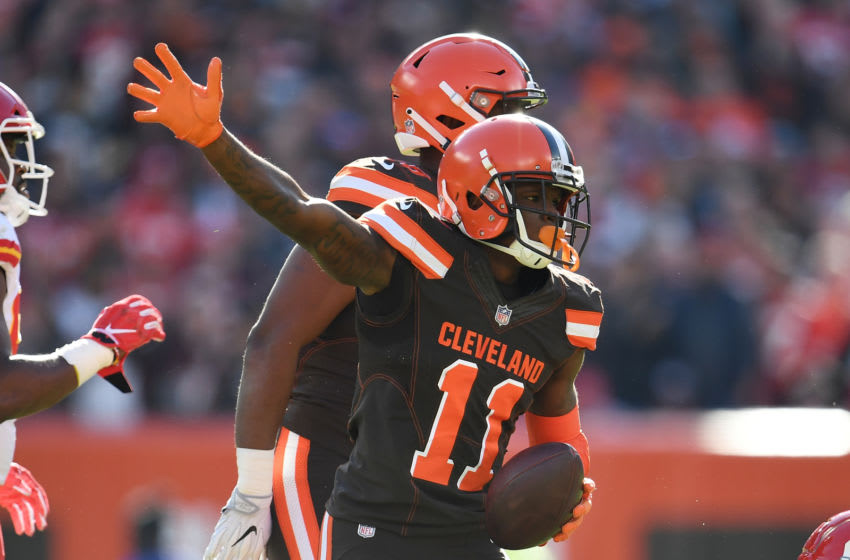 CLEVELAND, OH - NOVEMBER 04: Antonio Callaway #11 of the Cleveland Browns celebrates after picking up a first down during the first half against the Kansas City Chiefs at FirstEnergy Stadium on November 4, 2018 in Cleveland, Ohio. (Photo by Jason Miller/Getty Images)