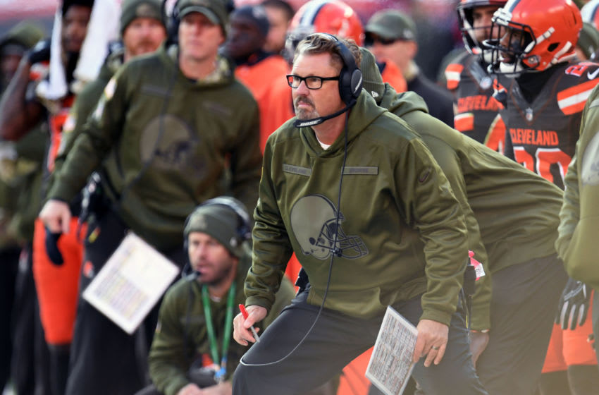 CLEVELAND, OH - NOVEMBER 11: Head coach Gregg Williams of the Cleveland Browns reacts to a play second half against the Atlanta Falcons at FirstEnergy Stadium on November 11, 2018 in Cleveland, Ohio. (Photo by Jason Miller/Getty Images)