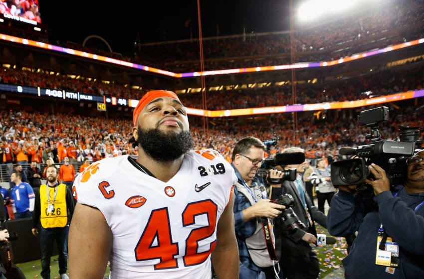 SANTA CLARA, CA - JANUARY 07: Christian Wilkins #42 of the Clemson Tigers celebrates his teams 44-16 win over the Alabama Crimson Tide in the CFP National Championship presented by AT&T at Levi's Stadium on January 7, 2019 in Santa Clara, California. (Photo by Sean M. Haffey/Getty Images)