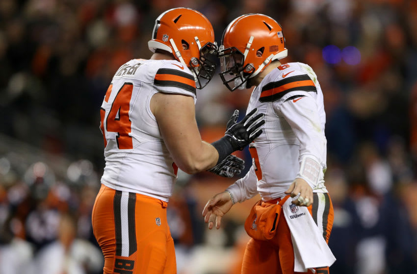 DENVER, COLORADO - DECEMBER 15: JC Tretter #64 and quarterback Baker Mayfield #6 of the Cleveland Browns celebrate a touchdown against the Denver Broncos at Broncos Stadium at Mile High on December 15, 2018 in Denver, Colorado. (Photo by Matthew Stockman/Getty Images)
